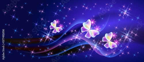 Fantasy fabulous butterflies with mystical wings and sparkle glowing stars Fototapet