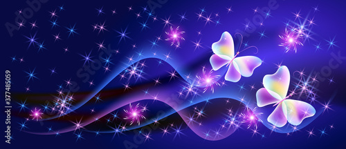 Fotografiet Fantasy fabulous butterflies with mystical wings and sparkle glowing stars