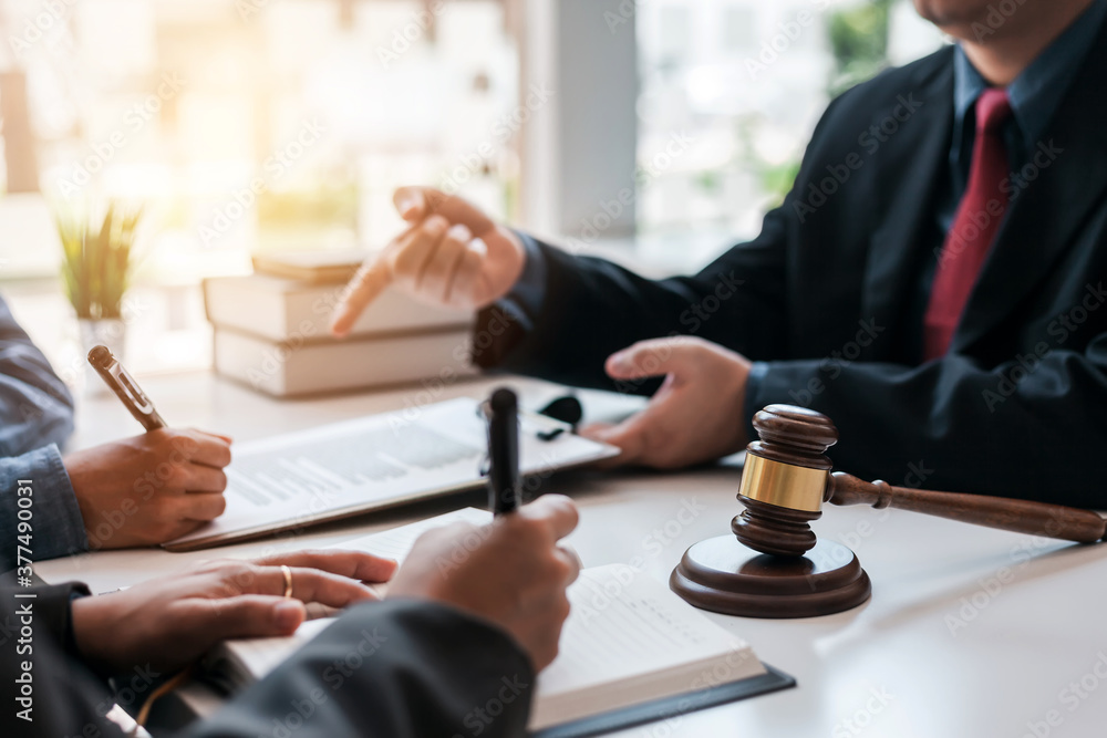 Fototapeta Signing of a contract with a consultant lawyer.