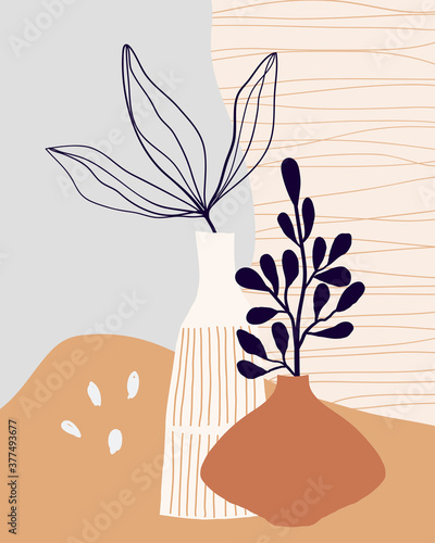 Obraz Minimalist art line wall art, poster, background with decorative leaves in vase. Modern contemporary design.  - fototapety do salonu