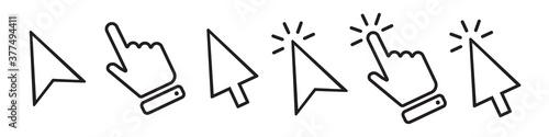 Fotografie, Obraz Computer mouse cursor vector icons collection in simple design