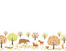 秋の紅葉の森と動物たち