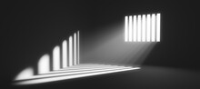 Light Behind Prison Cell Bars....