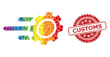 Rubber Customs Stamp And Spectrum Rush Gear Collage