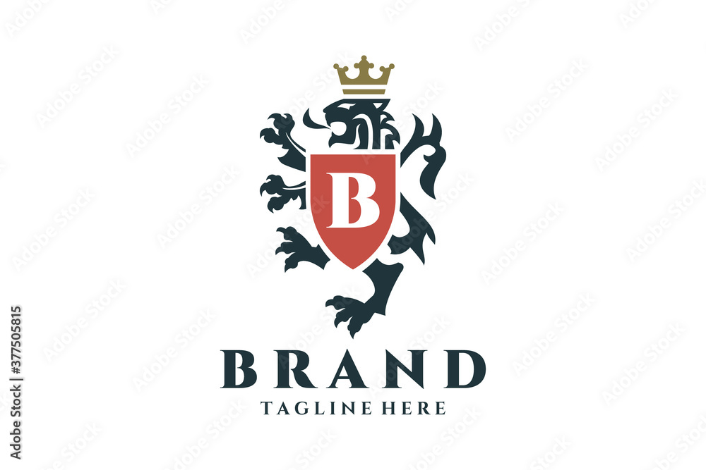 Fototapeta Coat of arms heraldic lion logo design.