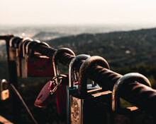 Close Up Of Love Locks On The Fence With Scenic View From The Lookout