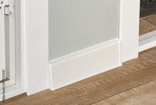plastic white floor plinth installation #377527847