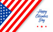 Happy Columbus Day greeting card or banner with hand lettering text and american flag isolated on white background. Vector illustration