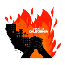 Illustration Vector Graphic Of California Map With Creek Fire. The Buildings On Map Of California State, USA. Pray For California's Creek Fire Concept. Flat Style For Banner Design. Graphic Elements.
