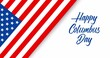 Happy Columbus Day animated greeting card or banner with handwriting text, appearing stars and american flag isolated on white background