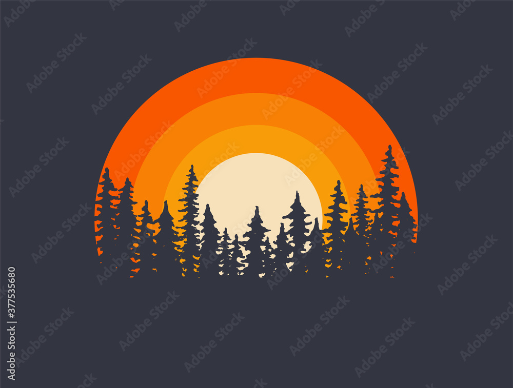 Fototapeta Forest landscape trees silhouettes with sunset on background. T-shirt or poster design illustration. Vector illustration