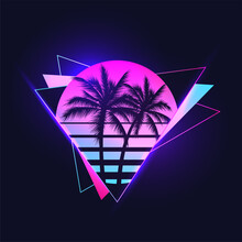 Retrowave Or Synthwave Or Vaporwave Aesthetic Illustration Of Vintage 80's Gradient Colored Sunset With Palm Trees Silhouettes On Abstract Triangle Shapes Background. Vector Illustration