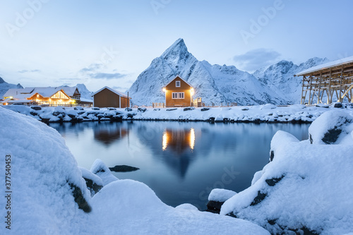 Fotografie, Obraz View on the house in the Sarkisoy village, Lofoten Islands, Norway