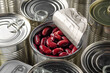 Canned red kidney beans in just opened tin can. Non-perishable food