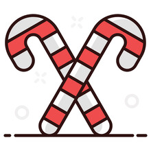 Candy Canes, Sweet Confectionery Item In Editable Style