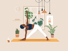 Young African American Woman Doing Yoga Exercises, Practicing Meditation And Stretching On The Mat. Black Female Character Practicing In Yoga Studio Or Home. Trendy Flat Vector Illustration.