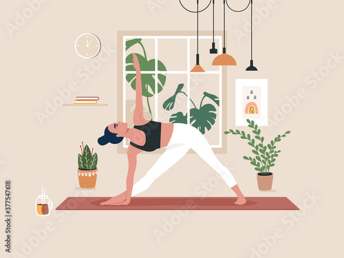 Obraz Young woman doing yoga exercises, practicing meditation and stretching on the mat. Female character practicing in yoga studio or home. Trendy flat vector illustration. - fototapety do salonu