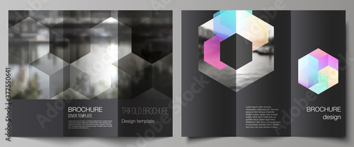Obraz Vector layouts of covers design templates with abstract shapes and colors for trifold brochure, flyer layout, magazine, book design, brochure cover, advertising mockups. - fototapety do salonu