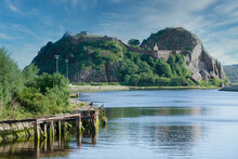 Dumbarton Castle Building On Volcanic Rock Aerial View From Above Scotland