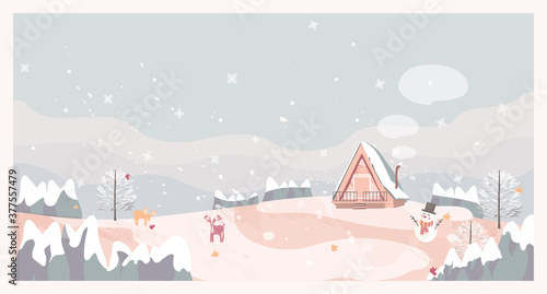 Vector illustration of a Christmas winter landscape postcard.Retro color of winter landscape with cottage, snowman and deer. winter background concept.