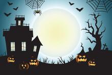 Halloween Spooky Teal Vector Scene Background 1
