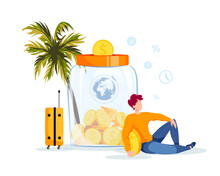 Piggy Bank In The Form Of A Jar With Coins Inside And Man Saving Money For A Travel. Money Saving Or Accumulating, Financial Services, Deposit Concept. Isolated Vector Illustration.