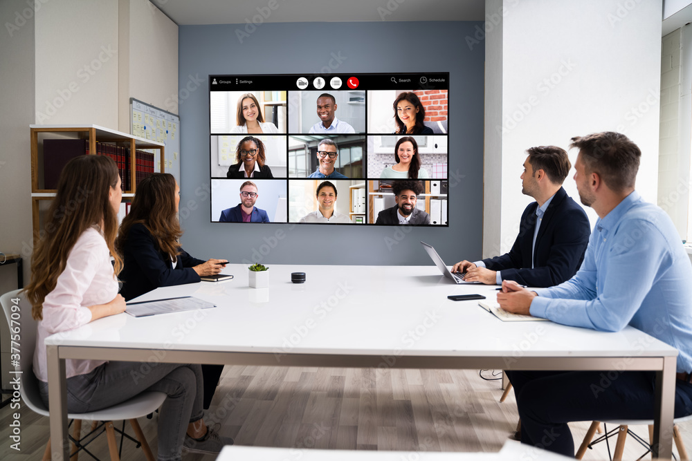 Fototapeta Online Video Conference Social Distancing Business Meeting