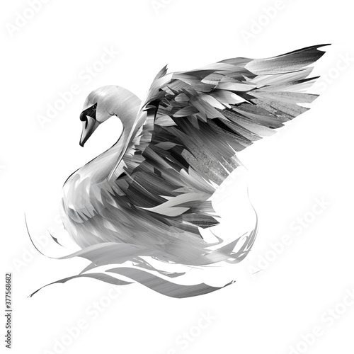 Obraz na plátně painted swan on a white background flaps its wings