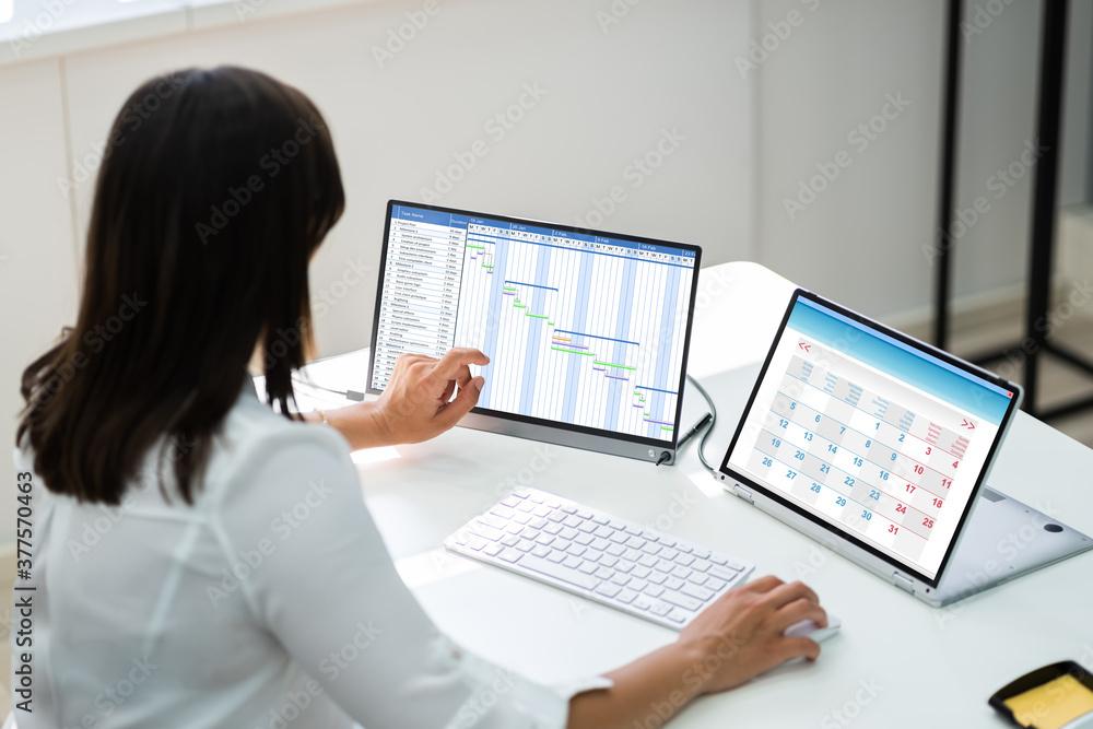 Fototapeta Employee Working On Calendar Schedule