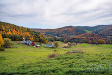 Farm In A Rolling Rural Landscape With Wooded Hills At The Peak Of Fall Foliage On An Overcast Autumn Day. Barnet, VT, USA.
