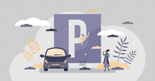Parking Lot As Urban Street Traffic Sign For Vehicle Tiny Persons Concept