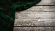 Clan Davidson Scottish Tartan Plaid On Wood. 3d Rendering