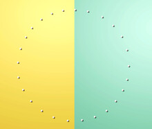 Circle Frame Background With White Dots - Flat Lay