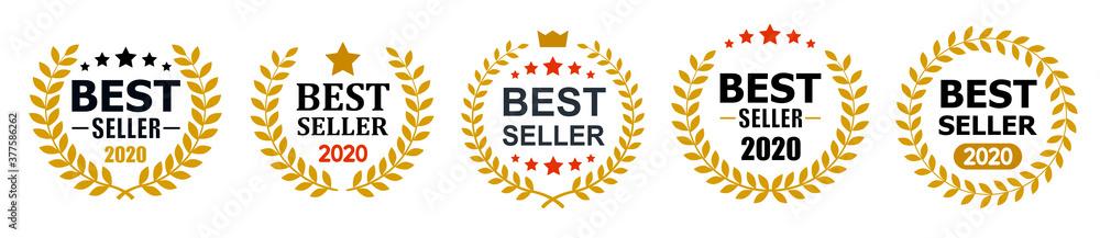 Fototapeta Set best seller icon design with laurel, best seller badge logo isolated - stock vector