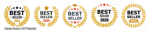 Set best seller icon design with laurel, best seller badge logo isolated - stock Wallpaper Mural