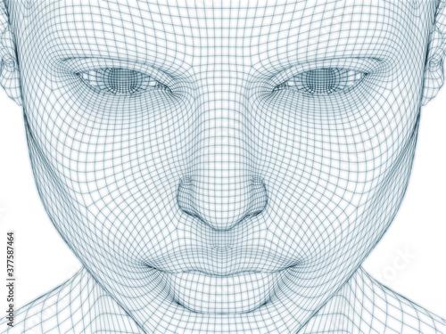 Fototapeta Human Face Wire Mesh obraz