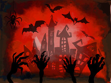 Red Halloween Background. Hands Monsters From The Ground. Vector Illustration