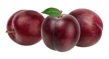 Fresh Plums With Leaf Isolated...
