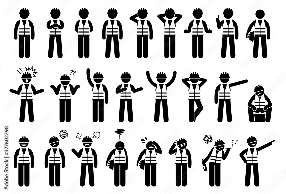 Fototapeta Industrial workers feelings, emotions, and actions icons set. Vector illustrations of construction worker with hard hat and safety vest.