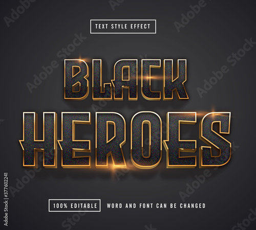 Fototapeta Black Heroes Text effect editable obraz