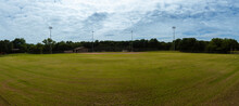 Panoramic View Of Home Plate On Baseball Field From Centerfield