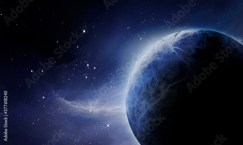 Fototapeta blue planet in space among the blue glow of falling stars, clouds and nebulae, a
