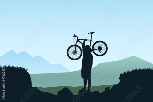 Fotografia bicycle rider carry bicycle