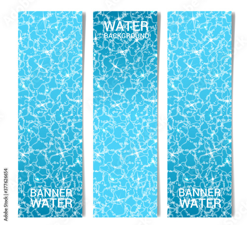 Three vertical banners - the surface of the water with air bubbles and sun glare on the surface Wallpaper Mural