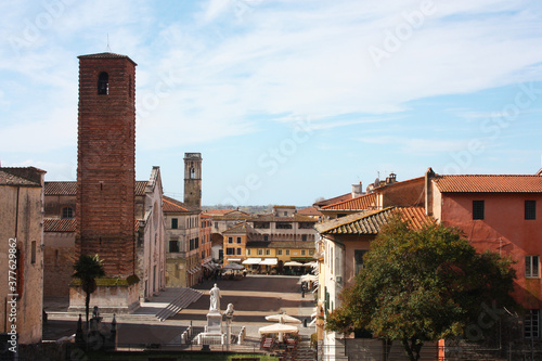The ancient medieval tower of Pietrasanta, a town of art in Tuscany Canvas Print