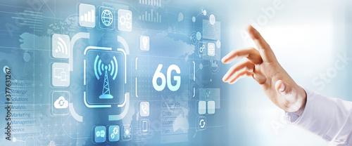 Fototapeta 6G Internet connection digital data wireless concept on virtual screen. obraz