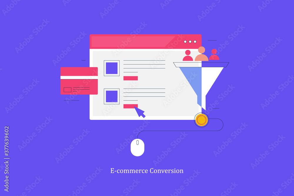 Fototapeta Ecommerce conversion funnel. Marketing and sales funnel optimization for online shopping website. Digital marketing , secure transaction, lead generation and conversion optimization concept.
