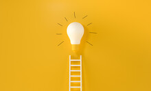 Lightbulb With A Ladder And Handmade Gloss Lines On Yellow Background. Representing An Idea, Creativity And Innovation Concept. 3d Rendering.