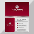 Red name card premium vector, modern name card, name card red bacground