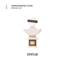 Statue Vector Icon. Flat Style Illustration. EPS 10 Vector.
